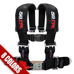 "50 Caliber Racing Universal 4 Point Safety Harness with 2"" Wide Straps Available in Many Colors"