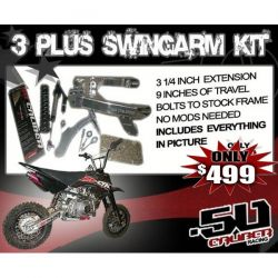 50 Caliber Racing Extended Swing Arm Kit 1 for Honda CRF50 Pit Bikes