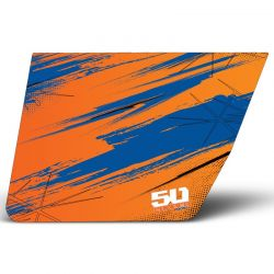 50 Caliber Racing RZR Door 3M Vinyl Graphics Sticker Kit - Orange & Blue Madness