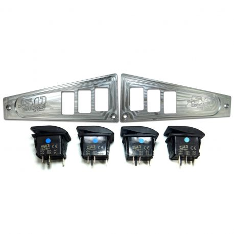 Polaris Ride Command 6 Switch Dash Panel Raw Silver 2 Piece Combo with 4 Free Waterproof Carling Illuminated 12V Switches