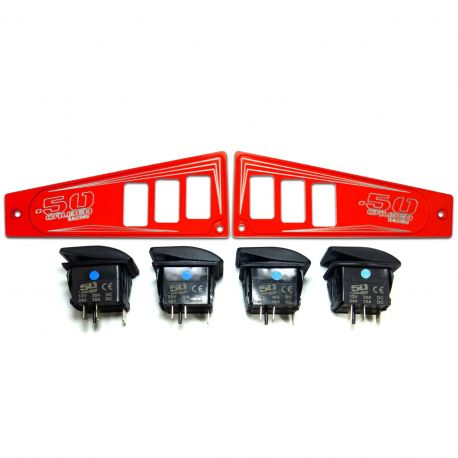 Polaris Ride Command 6 Switch Dash Panel Red 2 Piece Combo with 4 Free Waterproof Carling Illuminated 12V Switches