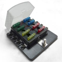 Universal 8 Way Covered 12V Circuit Blade Fuse Box with LED Indicators and Accessories