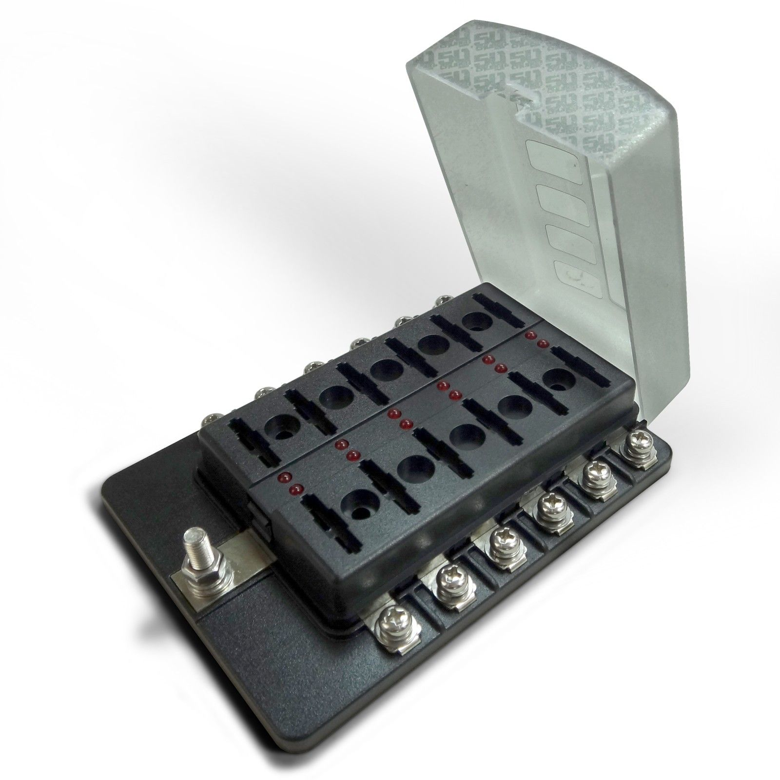 Universal 12 Way Covered 12v Circuit Blade Fuse Box With Led Circuits Indicators And Accessories