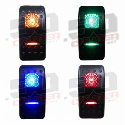 50 Caliber Racing ON/OFF/ON Waterproof Rocker Switch, LED Backlit Available in Red Blue Green & Orange