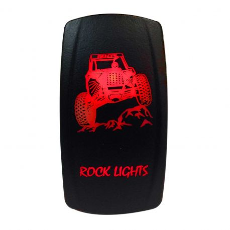 "Illuminated 50 Caliber Racing On/Off Rocker Switch with laser etched design - ""Rock Lights"" with RZR"