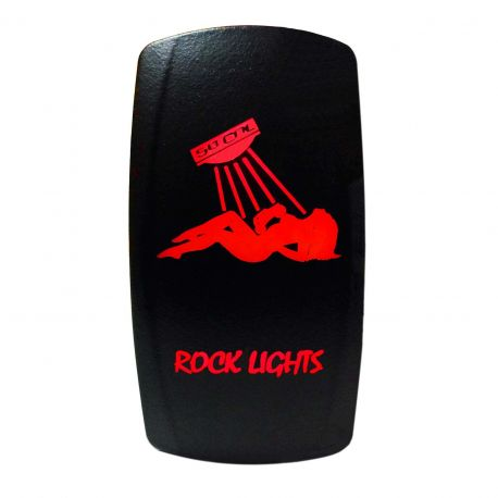 "Illuminated 50 Caliber Racing On/Off Rocker Switch with laser etched design - ""Rock Lights"" with Sexy Girl"