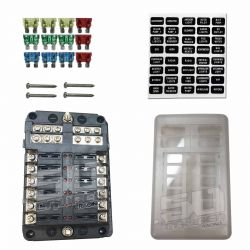 12 Way Fuse Block with Ground - LED Indicators