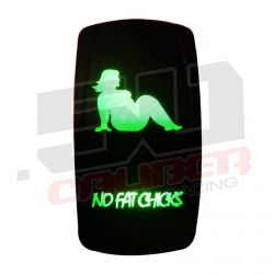 """Waterproof On/Off Rocker Switch Sexy Design """"No Fat Chicks"""" with Green LED Illumination"""