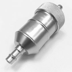 """Universal 1/4"""" Fuel Filter Aluminum 2 Piece Body with Replaceable filter - Silver"""