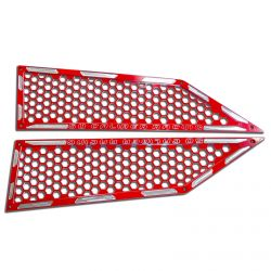Custom CNC Billet Air Intake Grille Bezels for RZR XP Turbo Includes Stainless Hardware - Red