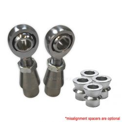 """Panhard Bar Fab Kit - 7/8"""" Heim, 1.75""""OD .120 or .250 Wall Bung - Shown with optional high misalignment spacers"""