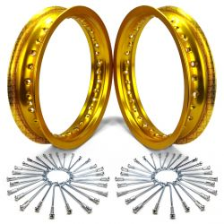 Set of 2 Pit Bike Rims 10 Inch 28 Hole with Spokes - Gold  Anodized