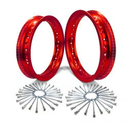 """Pit Bike Wheel Build Kit - 10"""" Rear, 12"""" Front with Spokes - Red Anodized"""
